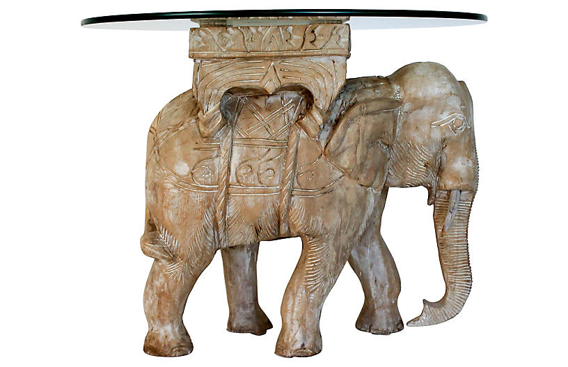 Carved Wood Elephant Table