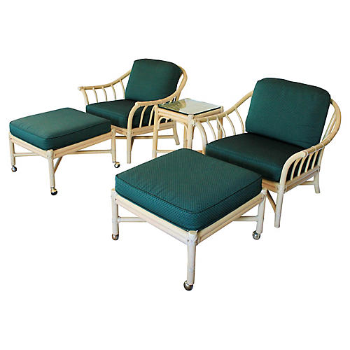 McGuire Lounge Chairs, Ottomans & Table