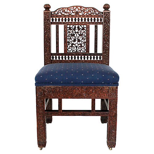 Anglo-Indian Carved Rosewood Chair