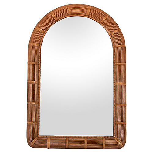 Boho Style Arched Wicker Mirror