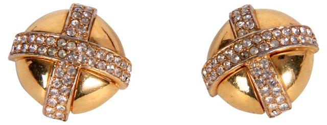 Ciner Rhinestone Button Earrings