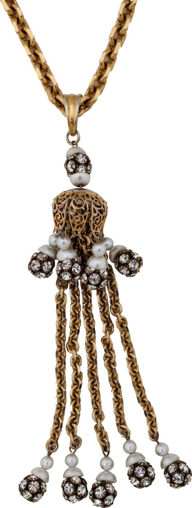 Vendome Rhinestone Tassel Necklace