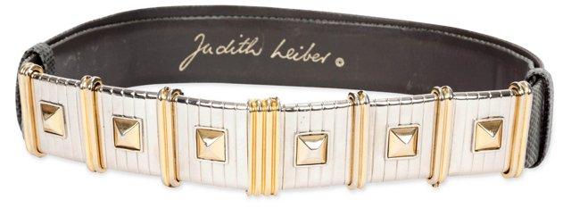 Judith Leiber Gray Karung Leather Belt