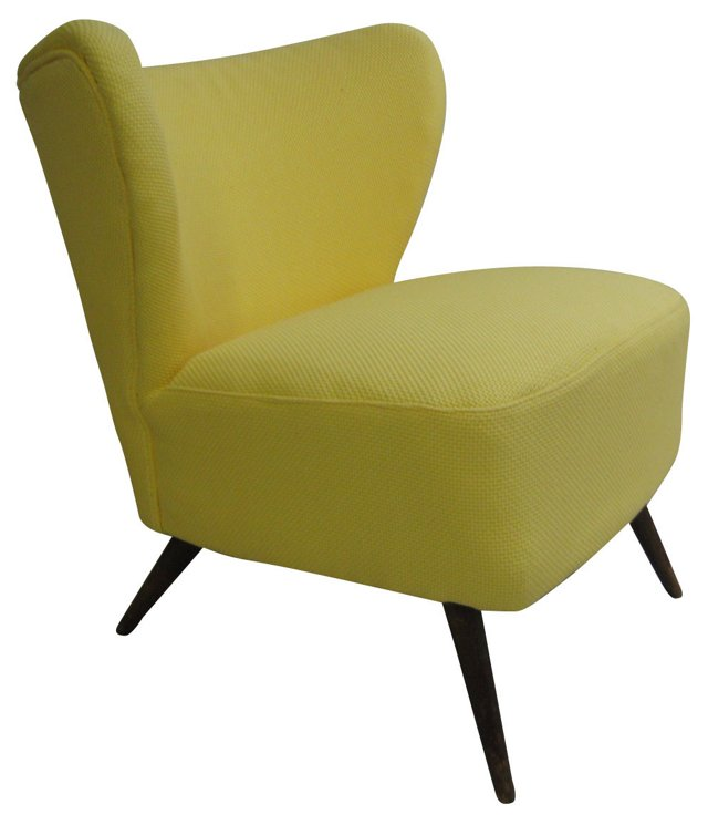 1950s Canary Yellow Slipper Chair