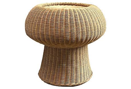 1970s Wicker Mushroom Stool