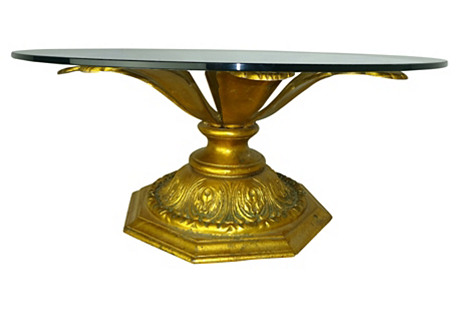 Cast Gilt Aluminum Table w/ Glass Top