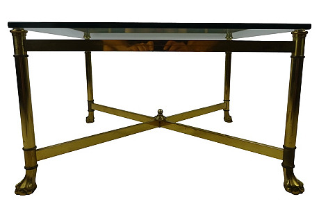 Square Brass Glass-Top Table