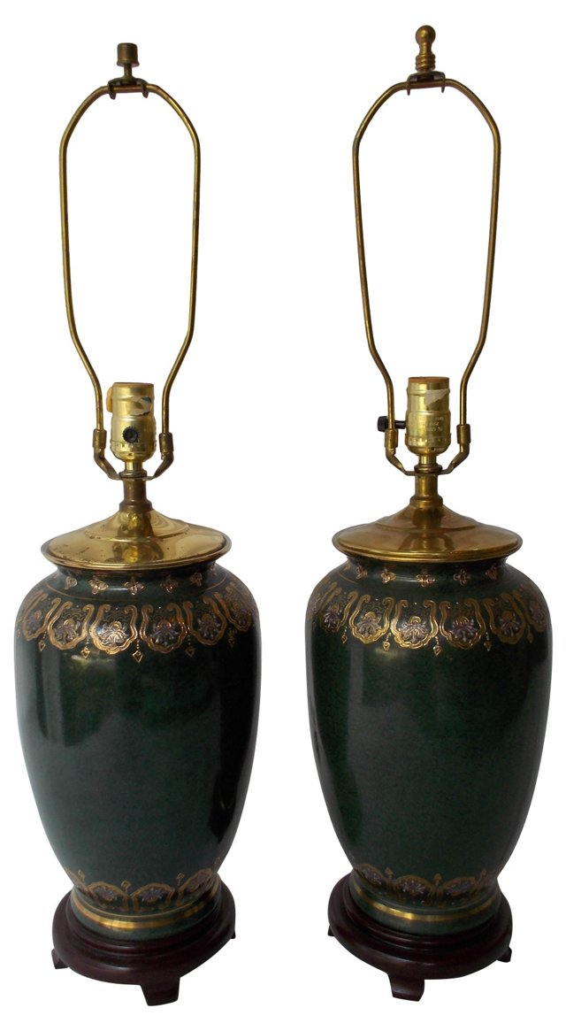 Chinoiserie Porcelain Lamps, Pair