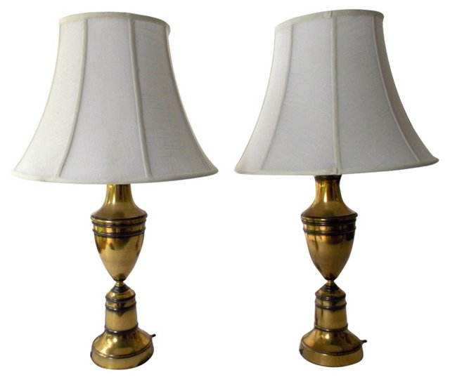 Brass  Lamps, Pair