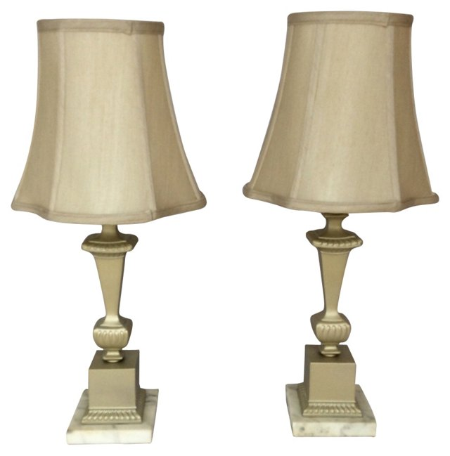 Laquered Brass & Marble Lamps, Pair