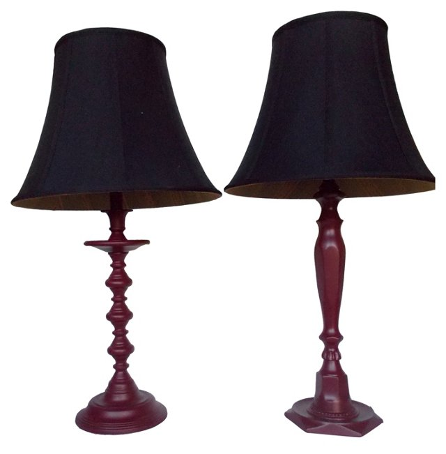 Maroon Painted Brass Lamps, Pair
