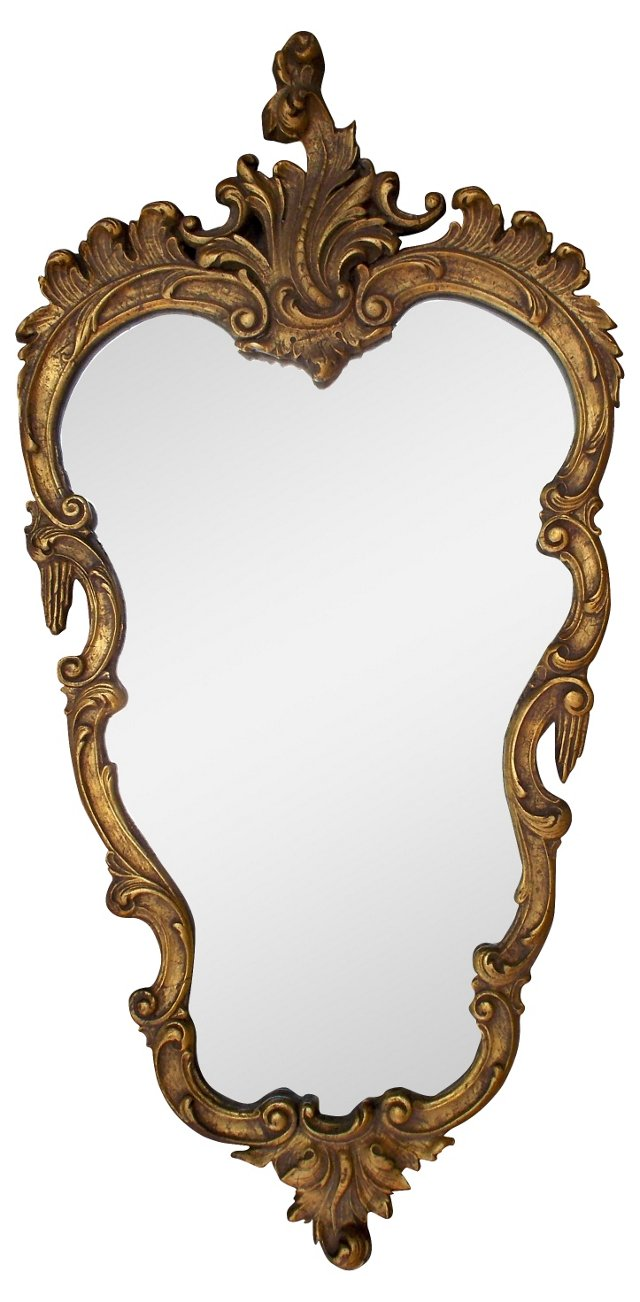 Rococo-Style Gilt Sheild Mirror