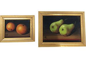 Oil Paintings in Giltwood Frames, S/2*