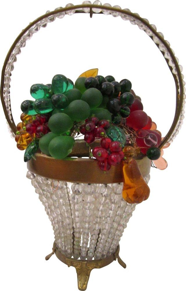 Czech Beaded Fruit Basket Lamp