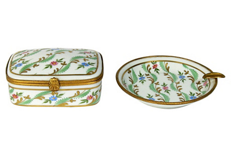French Limoges Dresser Set, 2 Pcs