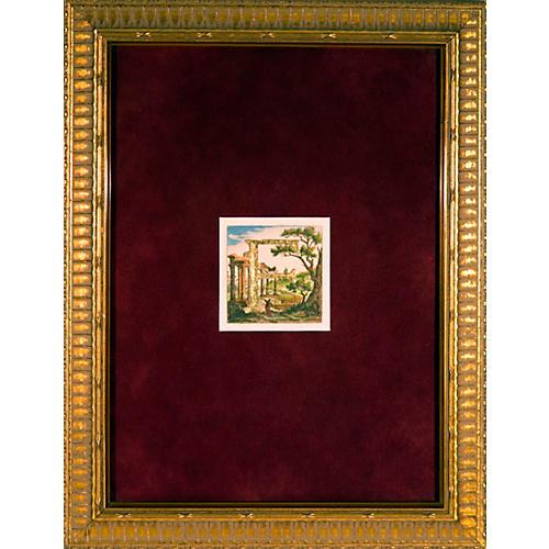 Letter F on Italian Landscape
