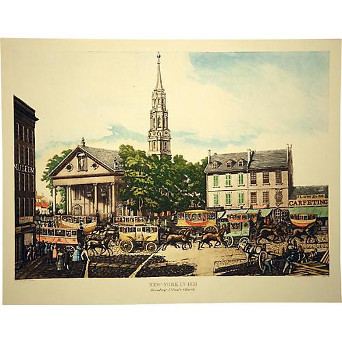 St. Paul's Church and Broadway, NY, 1831