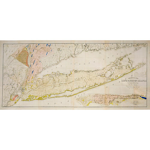 1842 Map of Long & Staten Islands