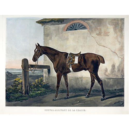 Post Hunt, Large Hand-colored Engraving