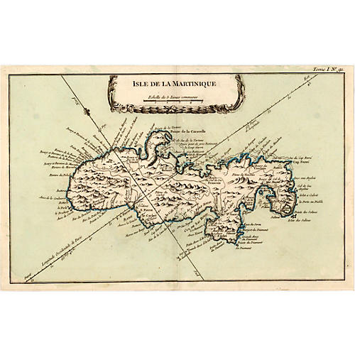 1764 Map of the Isle of Martinique