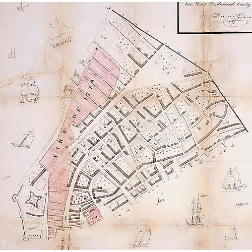 1858 Great Fire Map of New York