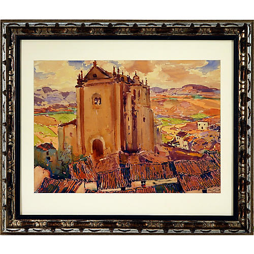 Framed Spanish Church on a Hill