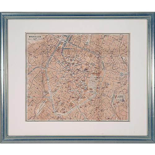 Framed Map of Brussels, Belgium