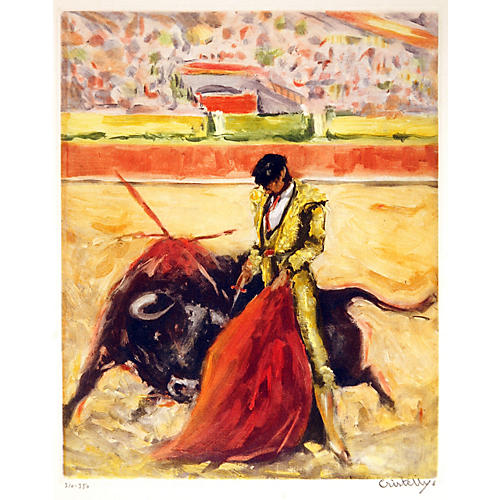 Dramatic Bullfight Etching