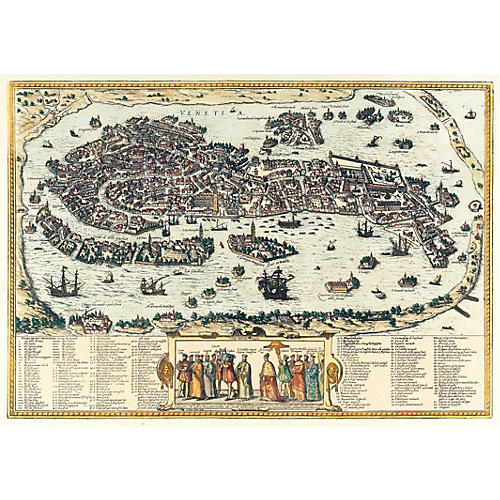 Map of Venice with Numbered Key to Sites