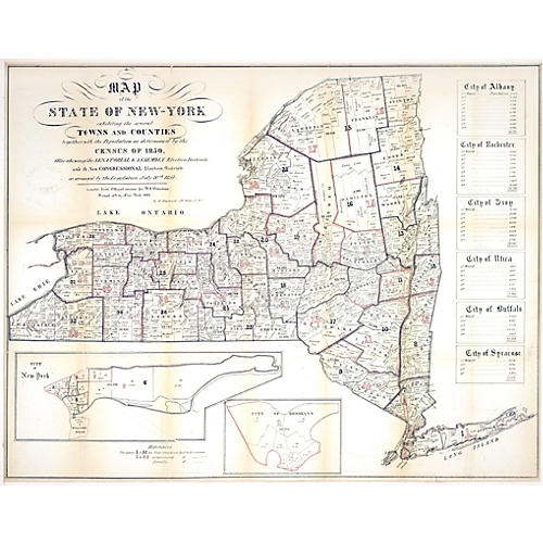 New York State Map w/ Census, 1850