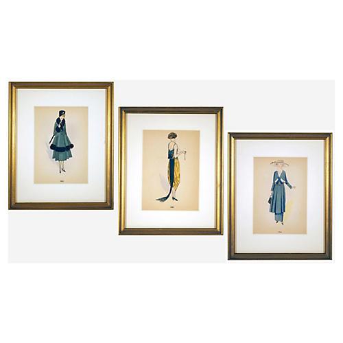 Framed Fashion Prints S/3