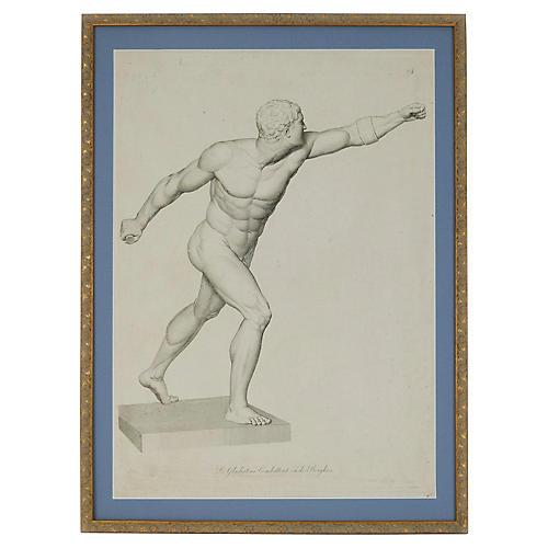 Large Borghese Gladiator Engraving