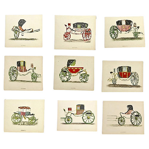 Nine Unique French Carriage Etchings