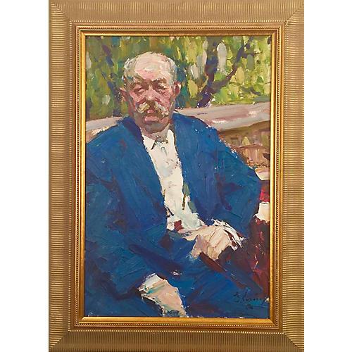 Framed Portrait of Man in Garden