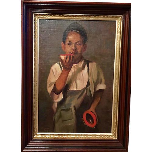Portrait of Boy w/ Fruit