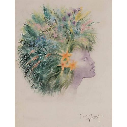 Female Profile with Botanical Headdress