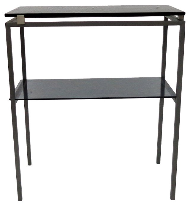 2-Tier Glass &  Steel Side Table