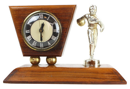 1950s Bowling Trophy with Clock