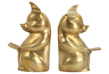 Brass Reading Pig Bookends
