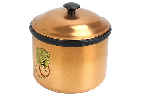Copper & Brass Lion Detail Ice Bucket