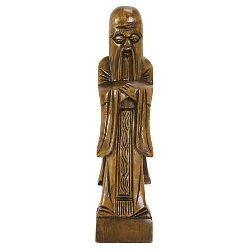 Midcentury Confucius Wood Carving