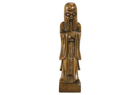 Midcentury Confucius Wood Carving