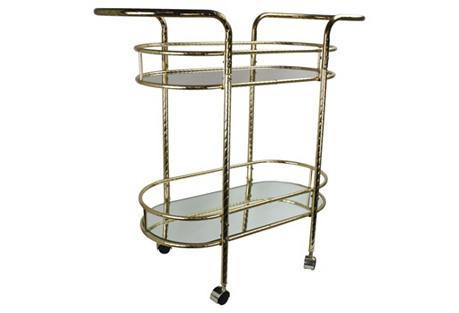 Art Deco-Style 2-Tier Brass Bar Cart
