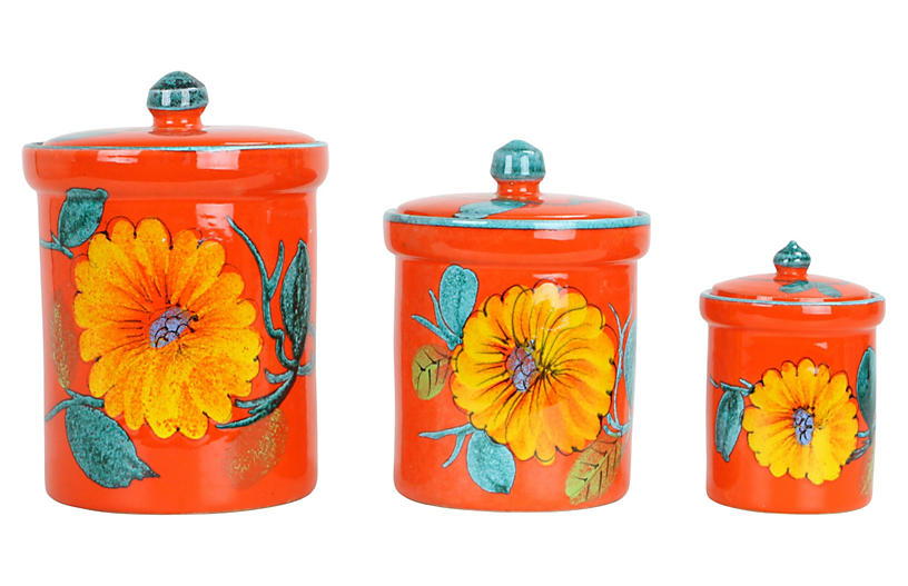 Asst. of 3 Italian Kitchen Canisters - Canisters & Food ...