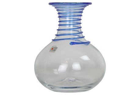 Blenko Swirl Cobalt & Clear Vase