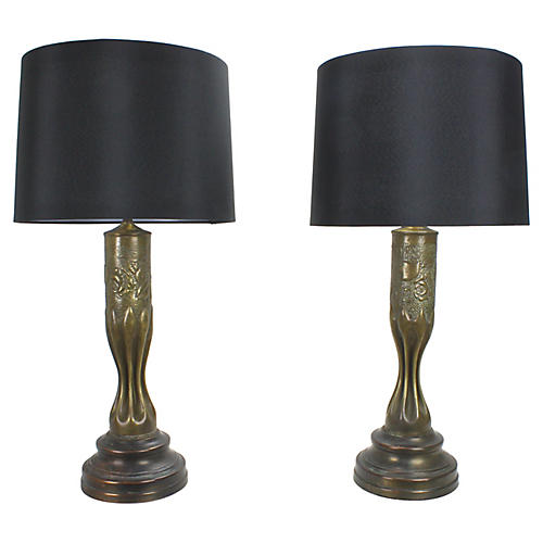WWI Brass Trench Art Lamps, Pair