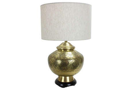 Large-Scale Brass Lamp by Marlborough