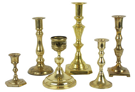 Mismatched Brass Candleholders, S/6