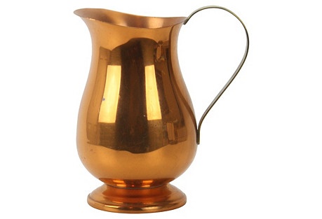 Copper Pitcher with Brass Handle
