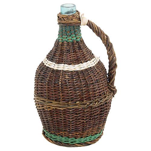 French Wicker-Wrapped Glass Demijohn
